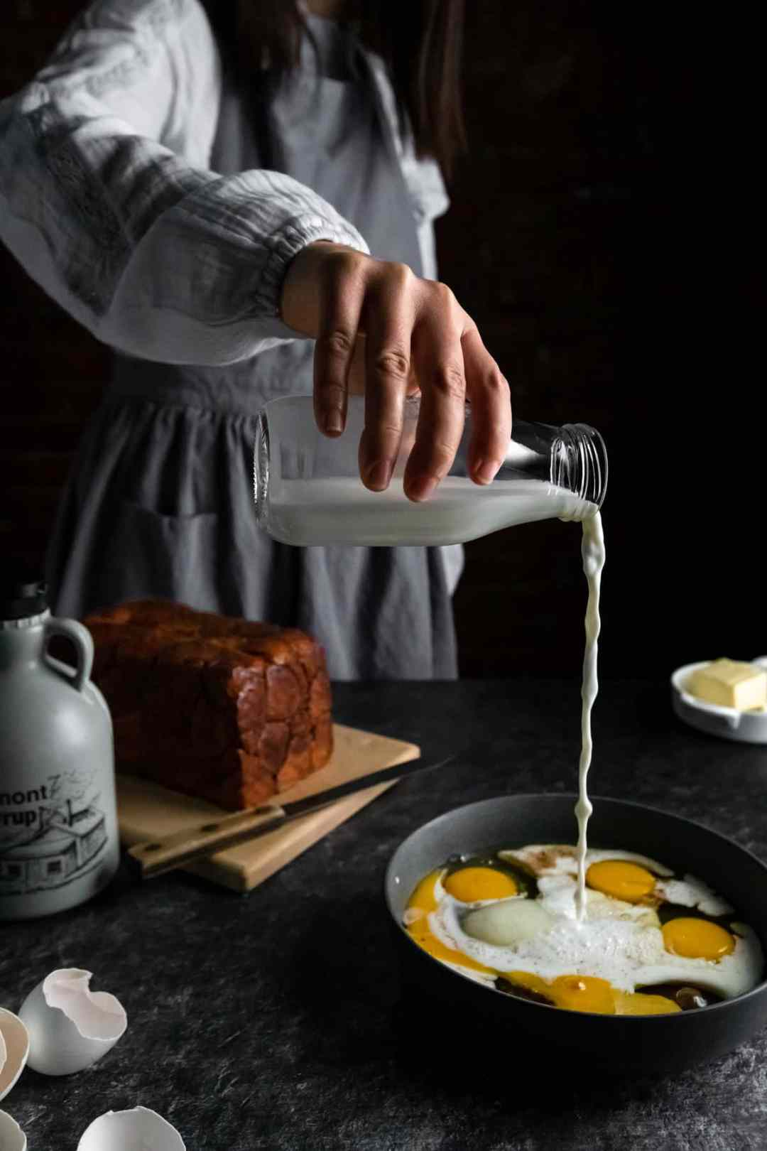 Pouring the milk to make the French Toast Batter