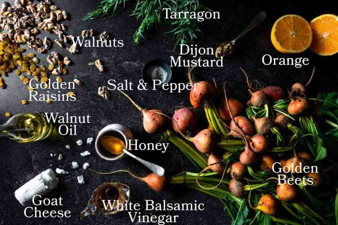 A picture of all the ingredients needed to make golden beet salad