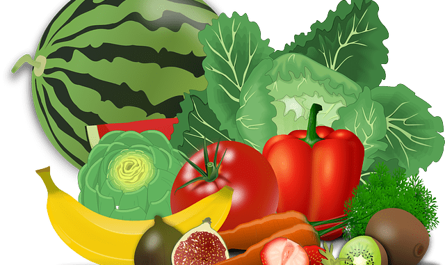 Clipart image of natural fruits and vegetables.