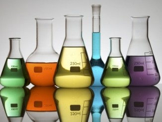 Lab equipment with colored liquid (mainly conical flasks)