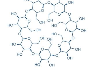 Beta-cyclodextrin molecule. Cyclodextrins are used in pharmaceuticals, food, deodorizing products, etc. Composed of glucose molecules. Skeletal formula.