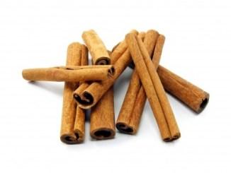 Cinnamon bark on a white background.