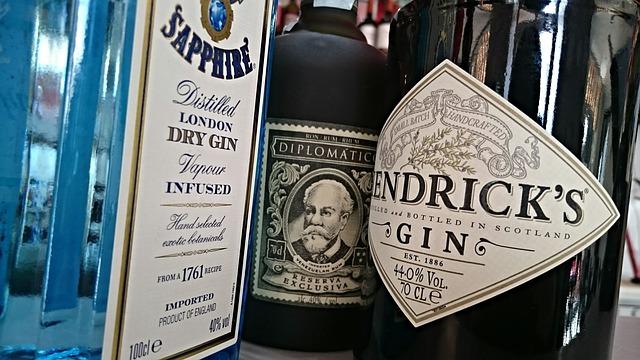 Gin bottles.