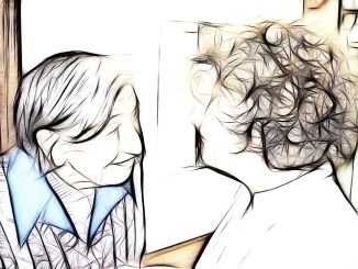 Drawing of patient with dementia (Alzheimer's Disease), (Parkinson's Disease) talking to another person. In pen and ink.