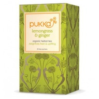 Pukka: A box of lemongrass & ginger tea bags.