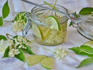 A tisane of elderflower, leaves with glass on a white cloth.