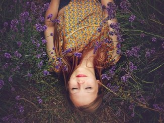 Lavender. A girl asleep in a lavender field. experiencing the power of lavender oil maybe ?