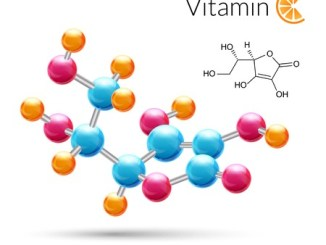 Vitamin C. A 3d molecule chemical science atomic structure poster illustration.