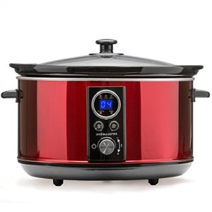 Andrew James Premium Slow Cooker with Timer, 4.5L Red Digital Cooker with Removable Ceramic Bowl, Tempered Glass Lid, Delayed Start and Keep Warm Functions