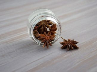 Star anise in a jar on a grey table.