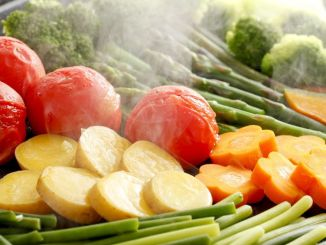 Steam cooking of vegetables.