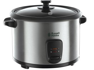 Russell Hobbs Rice Cooker and Steamer 19750, 1.8 L - Silver on black background