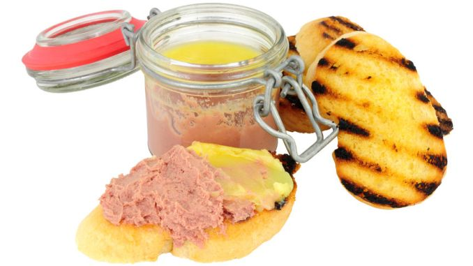 Chicken liver parfait and toast isolated on a white background