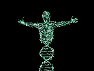 Image of a man made from DNA helix.