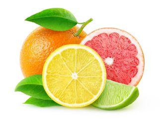 Citrus fruits (lemon, lime, grapefruit, orange) isolated on white, with clipping path