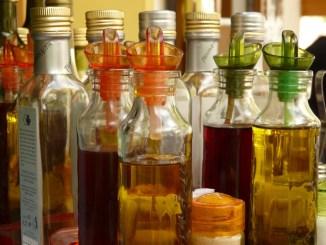 Vinegars in many different bottles.