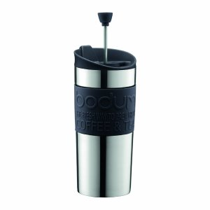 BODUM Travel French Press Coffee Maker Set, Stainless Steel with Extra Lid, Vacuum, 0.35 L/12 oz, Black