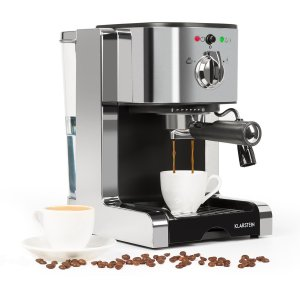 Klarstein Passionata 20 Espresso Machine • 20 Bar • Capuccino • Milk Foam • 1350W • Stylish Design for Modern Kitchens • Steam Nozzle for Frothing Milk and Preparing Hot Drinks • Silver