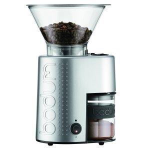 BODUM 10903-70UK-1 Bistro Electric Burr Coffee Grinder, Aluminum, Silver