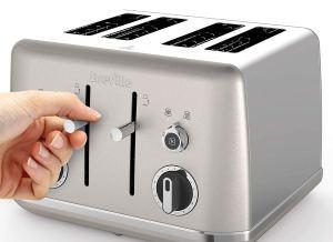 Breville VTT851 Lustra Shimmer 4 Slice Toaster, Stainless Steel, Cream