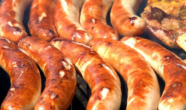 Ultra processed food such as grilled sausages.