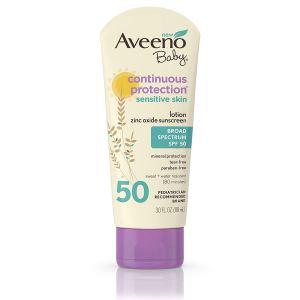 AVEENO Baby Continuous Protection Sensitive Skin Lotion Zinc Oxide Sunscreen SPF 50 3 oz 3 Fl. Oz