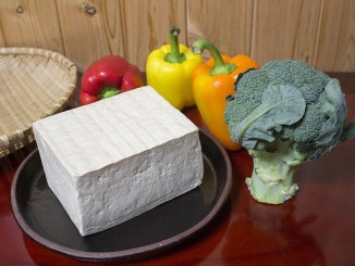 A block of tofu on a plate with peppers an broccoli as health foods.