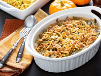 Green bean casserole. Green beans casserole, traditional side dish for Thanksgiving