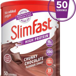 SlimFast High Protein Meal Replacement Powder Shake, Chunky Chocolate Flavour, 50 Servings