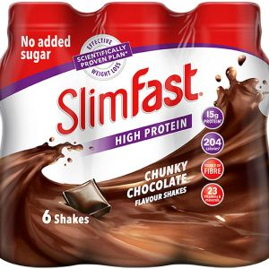 SlimFast High Protein Meal Replacement Ready-to-Drink Shake, Chunky Chocolate Flavour, 325 ml - Pack of 6