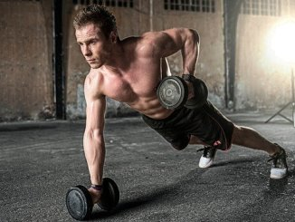 A man exercising. The biochemical reactions are driven in part by glycolysis.
