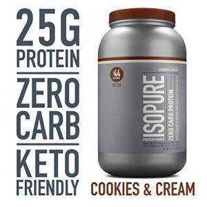 Isopure Zero Carb, Vitamin C and Zinc for Immune Support, 25g Protein, Keto Friendly Protein Powder, 100% Whey Protein Isolate, Flavor: Cookies & Cream, 3 Pounds (Packaging May Vary)