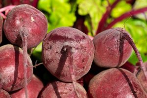 Beetroot roots - a dark maroon red colour.