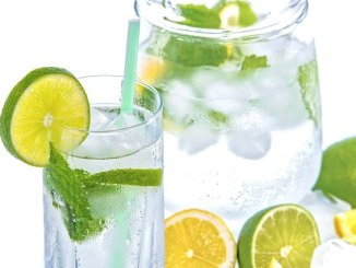 lemon water and lime water in a glass