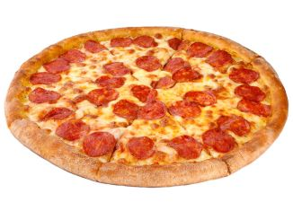 pepperoni slices on a pizza on a white background.