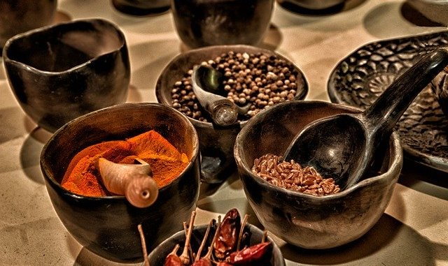 spices in a bowl. products treated using electron beam technology.