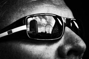 Ray ban glass. Black & white photo.
