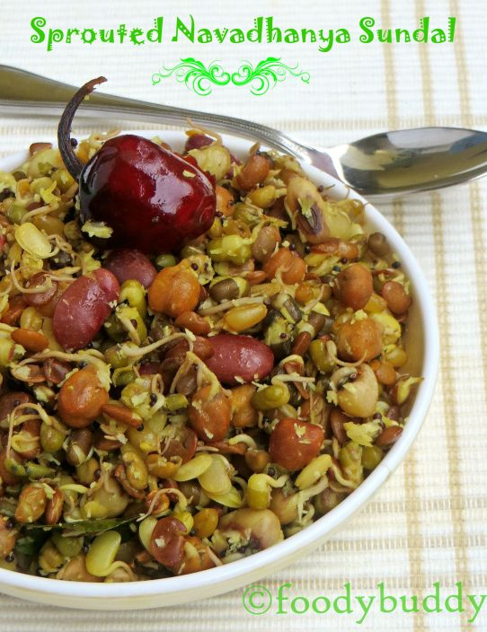 sprouted navadhanya sundal recipe