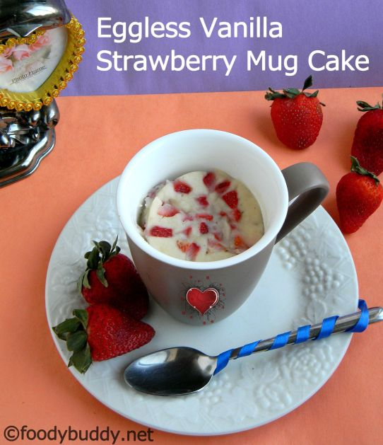 vanilla strawberry mug cake
