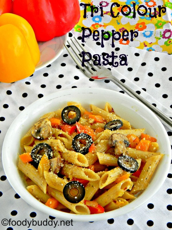 mushroom and tri colour pepper pasta recipe