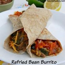 Homemade Refried Beans & Cheese Burrito Recipe (Vegetarian)