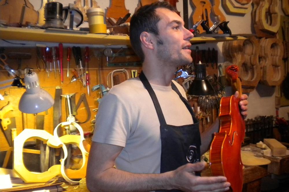 Violin maker Stefano Conia