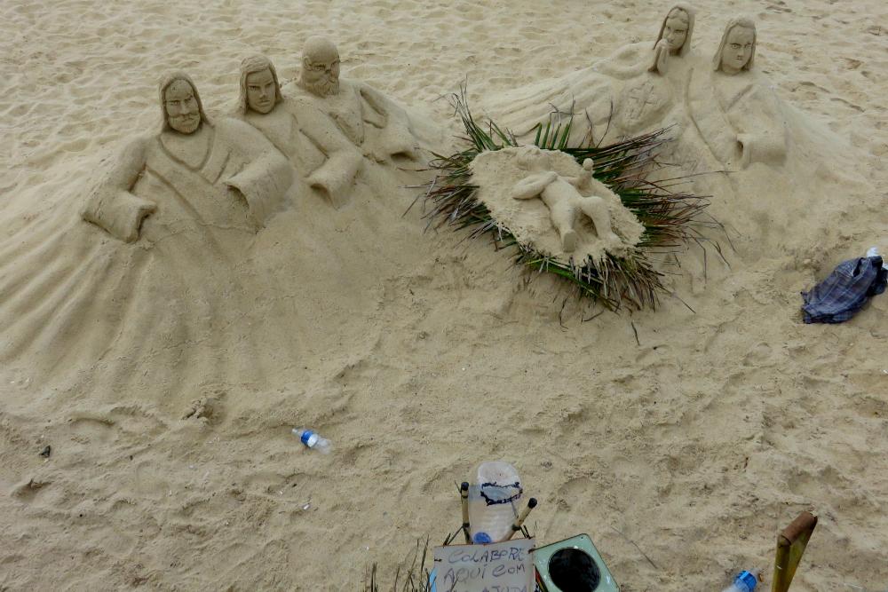 Rio Ipanema Beach sand sculpture