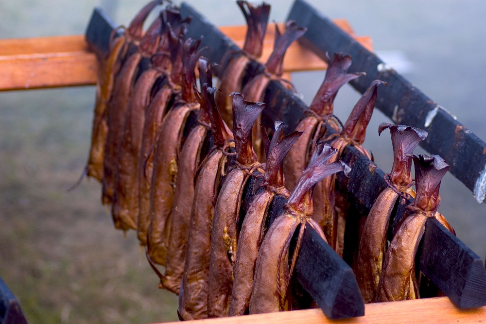 Arbroath kippers being smoked in the traditional way