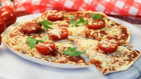 Light PIzza on a Tortilla Wrap