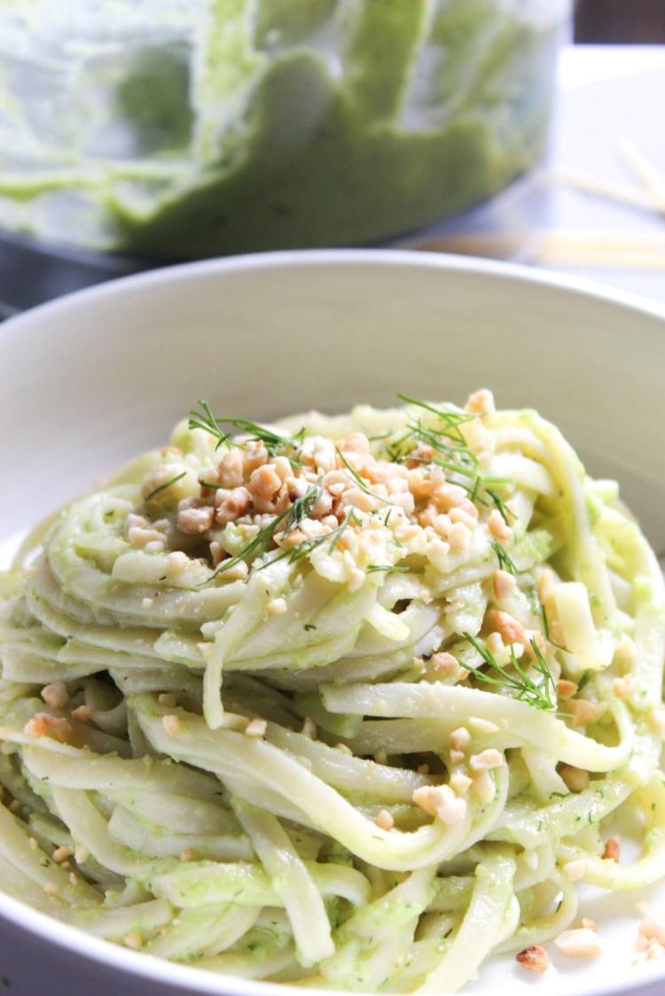 Trenette Pasta with Avocado Pesto and Cashews