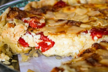 Savory Three Cheese and Paprika Pepper Quiche