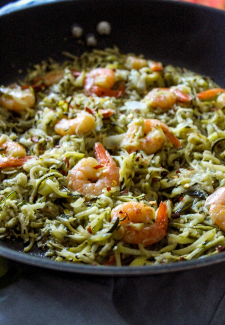 Shrimps, sliced Zucchini,