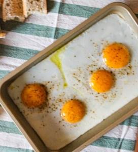 eggs, baking pan,