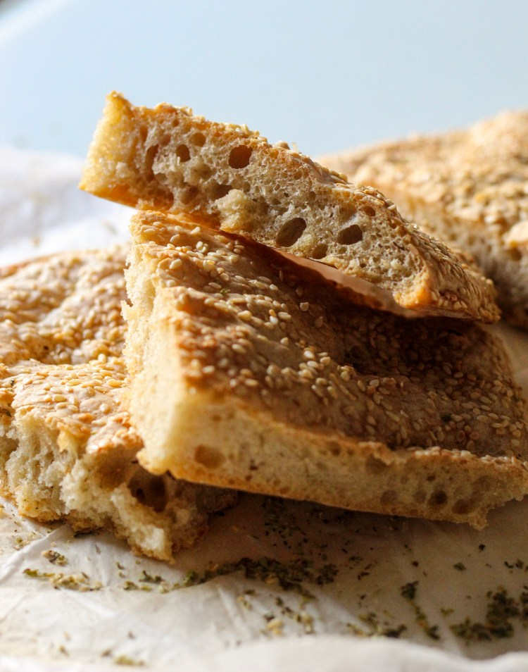 flatbread, lagana, sesame seeds,